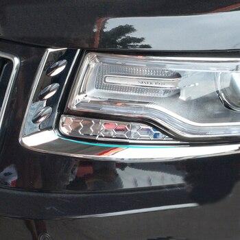 ل جيب جراند شيروكي باتريوت 2011 2012 2013 2014 فرامل ABS من الكروم المصابيح الأمامية الحاجب مقبلات غطاء الكسوة معدات الحماية قطاع