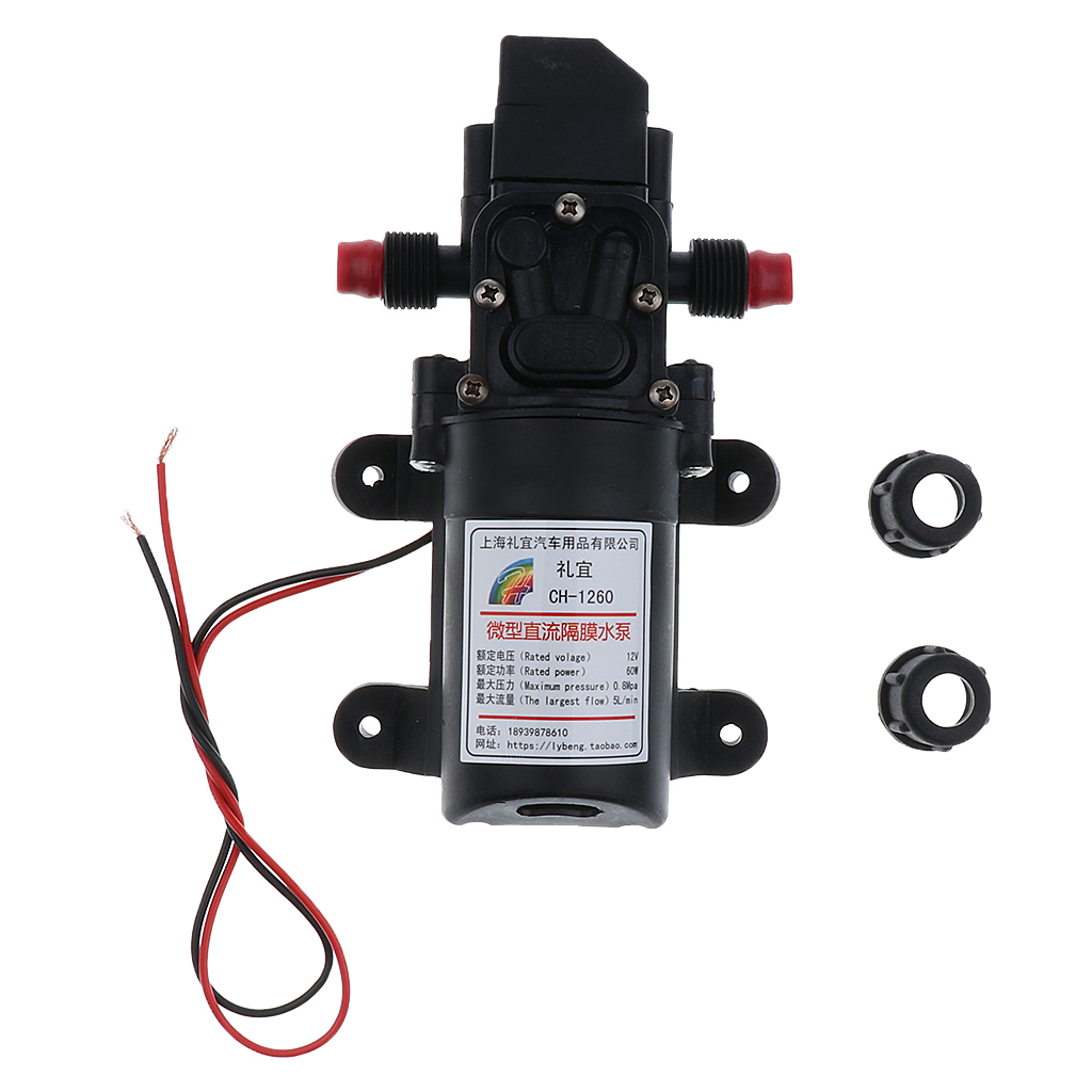 Automatic Diaphragm Water Pressure Pump For Car Marine Boat 12V , 5L/min 100 PSI Compact And Lightweight