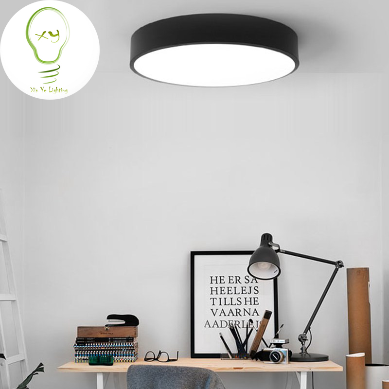 Modern LED ceiling light Black white Round simple decoration fixtures study dining room balcony bedroom living room ceiling lamp black and white round lamp modern led light remote control dimmer ceiling lighting home fixtures