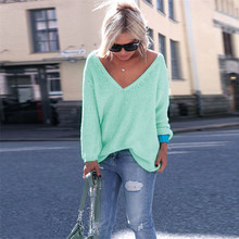 Fashion Sweater Women Winter V Neck Loose Knitted Sweater Long Sleeve Solid Top Women Autumn Female Sweaters Sueter Mujer Femme цена
