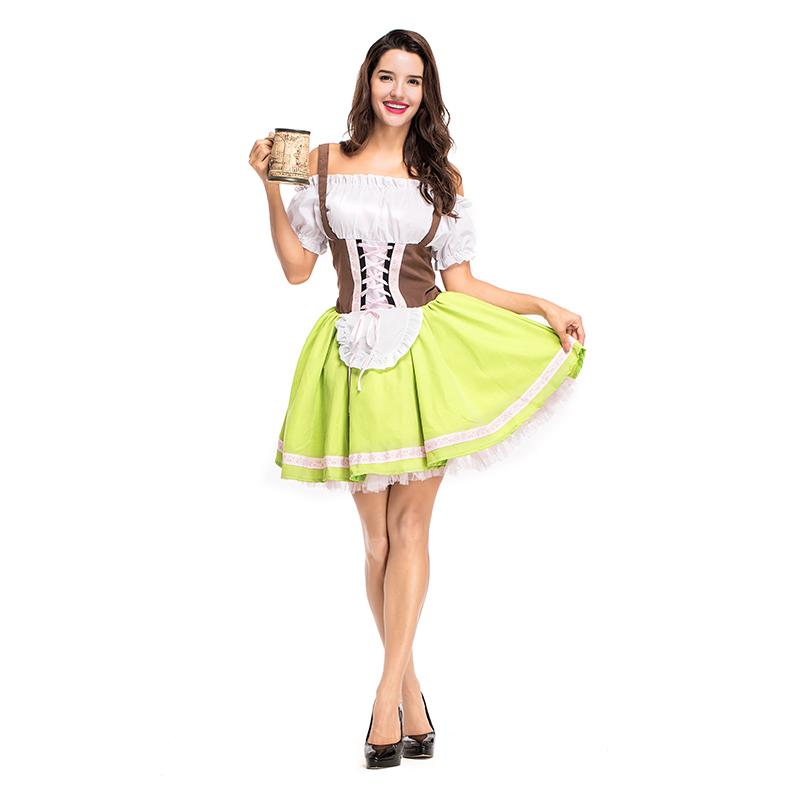 Costumes Adult Women Beer Festival Elegant Yellow and Brown Dresses Suit National Costumes Oktoberfest Event Cosplay Costumes
