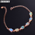 ZHHIRY Women Natural Opal Gem Bracelet Genuine Solid 925 Sterling Silver Lady Jewelry Fine Colored