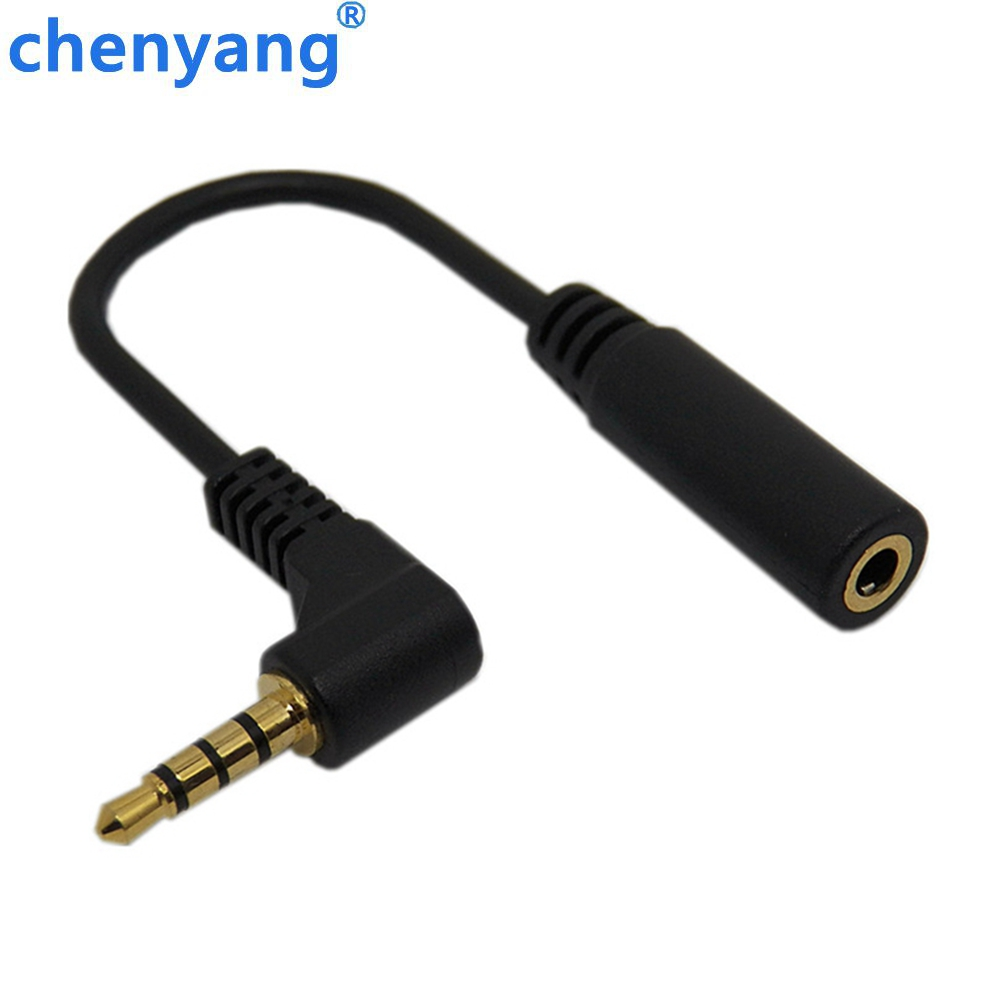 4 pole Short 10cm TRRS Right Angle 3.5mm Male to Female Extension audio cable