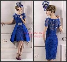 Sexy Royal Blue kurzen Ärmeln Spitze Formal Kurze Abendkleider für Party Hochzeit Mutter der Braut Kleider plus Größe