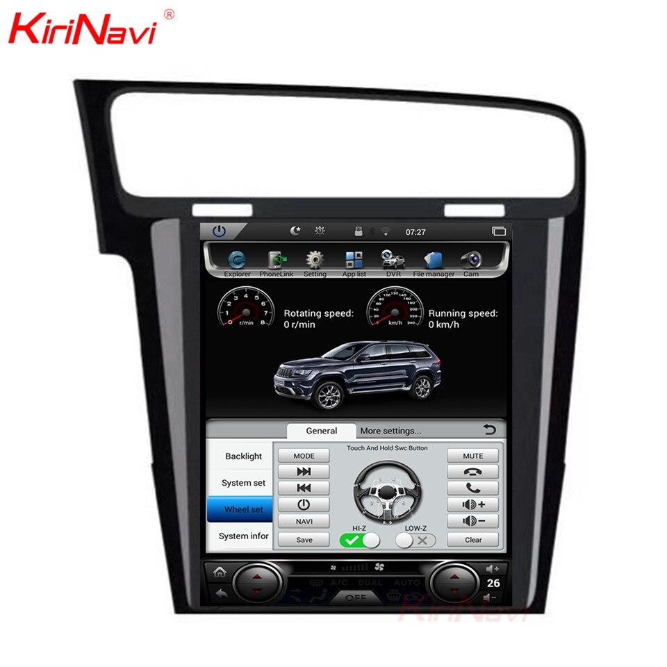 KiriNavi écran Vertical Tesla Style Android 7.1 10.4 lecteur DVD multimédia de voiture pour VW Golf 7 Radio Navigation 2013 2014 2015 +
