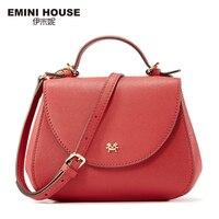 EMINI HOUSE Split Leather Women Messenger Bags Fashion Saddle Bag Shoulder Bag Crossbody Bags For Women
