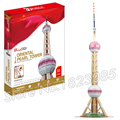 86PCS Oriental Pearl tower 2016 New 3D Puzzle DIY Jigsaw Assembly Model Building Set Architecture Creative gifts Children Toys