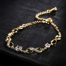 Classic Beautiful Engagement Wedding Jewelry For Women Yellow Gold & Silver Bracelet Round White CZ Anniversary Gift Wholesale