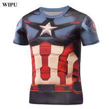 WIPU Captain America T Shirt 3D Printed T-shirts Men Avengers iron man Civil War Tee Cotton Fitness Clothing Male Crossfit Tops