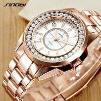 2017 Sinobi luxury Brand Fashion watches Woman Ladies New Gold Diamond relogio feminino Dress Clock female relojes mujer