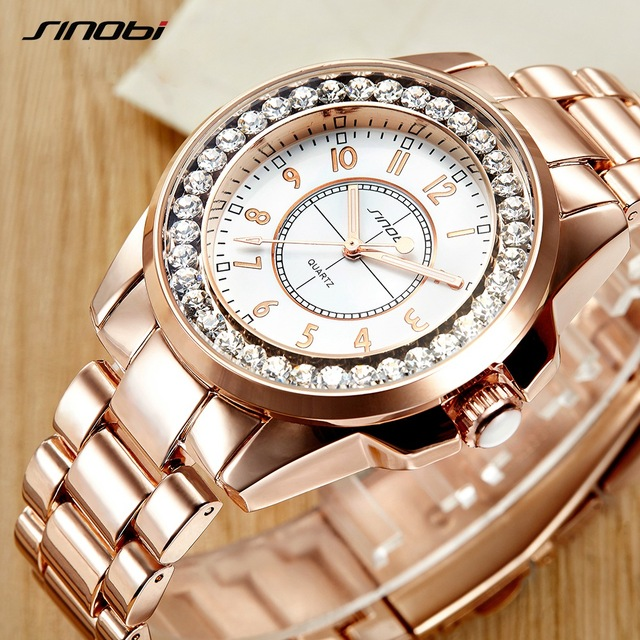 2017 Sinobi luxury Brand Fashion watches Woman Ladies New Gold Diamond relogio f