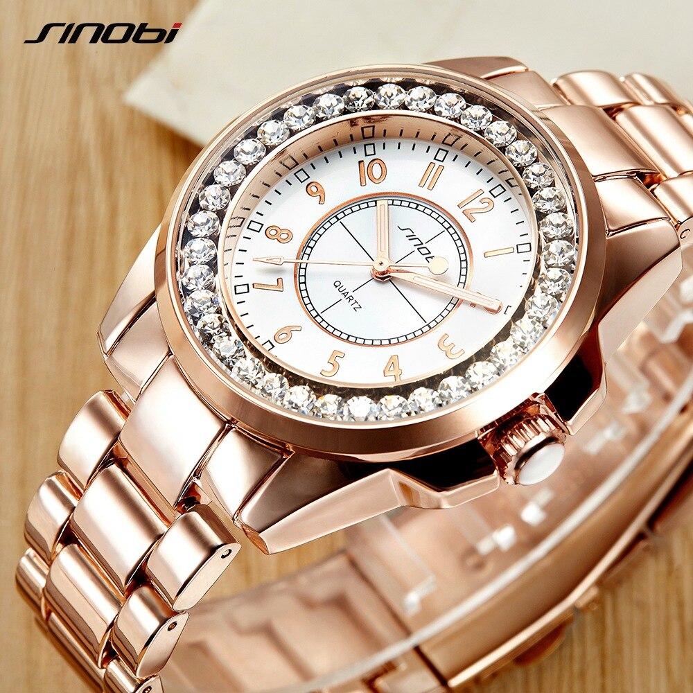 2017 Sinobi luxusmarke Mode uhren Frau Damen Neue Gold Diamant relogio feminino Kleid Uhr weibliche uhren mujer