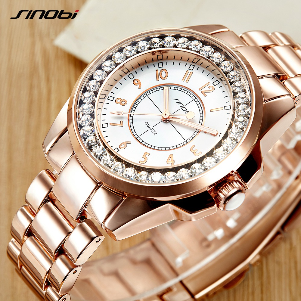 2017 SINOBI люксовый бренд Fashion часы женские новый золото Diamond Relogio feminino платье часы женский Relojes Mujer