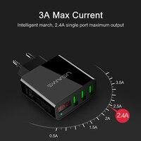 USAMS 3 Port USB Phone Charger LED Display EU US Plug The Max 2 4A Smart