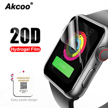 Akcoo 20D for Apple Watch Screen Protector 44mm Hydrogel Full Protection film watch Series 1 2 3 4 38 40 42mm