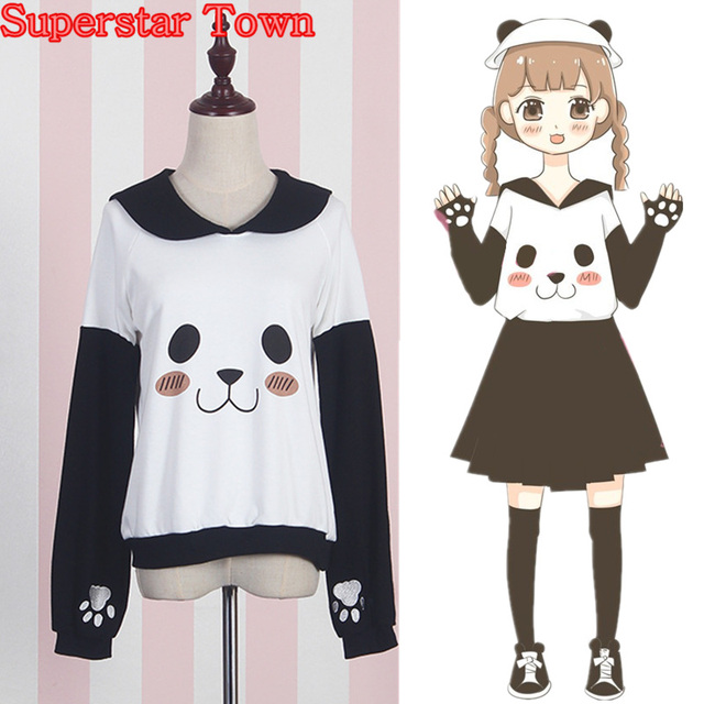 Panda Female Sweatshirts Sailor Collar Anime Hoodie Harajuku Face Claw Pullover Japan Mori Girl Lolita