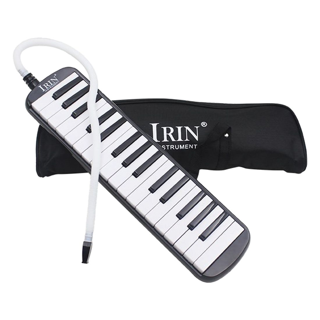 IRIN 32/37 Key Piano Style Melodica With Deluxe Carrying Case Organ Accordion Mouth Piece Blow Key Board Black Instrument
