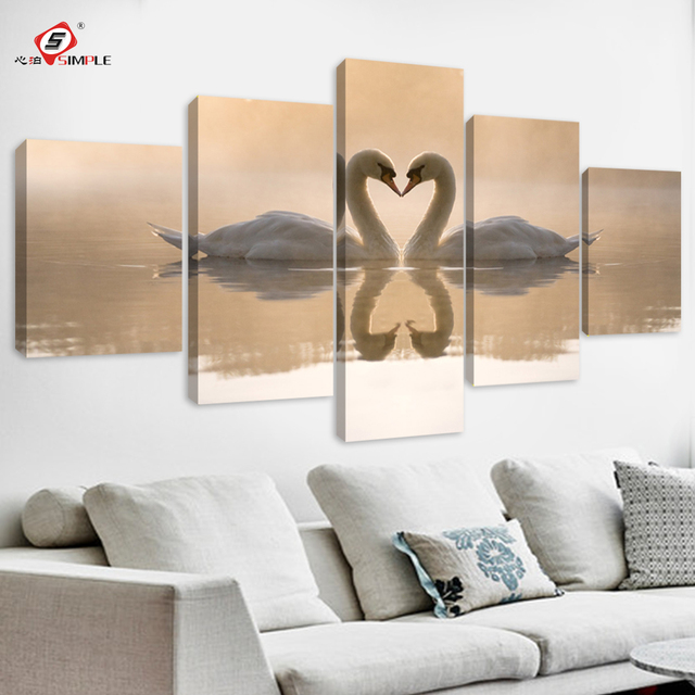 SIMPLE Drop Shipping 5pcs Double Swan Canvas Prints Wall Decor For Living Room Modular