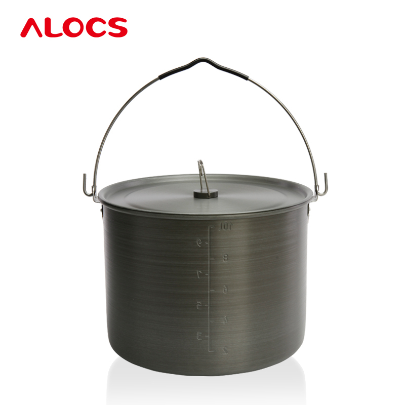 Outdoor Cooking 4-10 People Hard Alumina Hung Pot Camping Picnic Hanging Pots Corrosion Resistance Bonfire Party Health cooking well prostate health