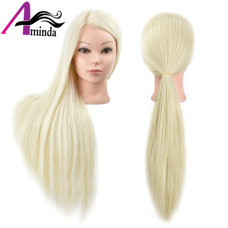 Hair Mannequin Head With Wig Synthetic Maniqui 26inch Blonde Hair Hairdressing Doll Heads Professional Styling Wig Head