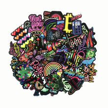 TD ZW 75Pcs/lot Neon Light Stickers Decal For Children to Laptop Suitcase Guitar Fridge Bicycle Car Sticker Pegatina