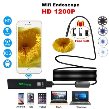 1200P HD WIFI Endoscope Camera 1M 2M 3.5M 5M 7M 10M 8mm Mini Waterproof Borescope Inspection Camera For Android PC IOS Endoscope jcwhcam 8mm hd 2m 5m 10m usb android endoscope inspection tube snake mini endoscopio camera otg ip67 waterproof android endoskop