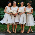 Short Bridesmaid Dresses 2017 Sleeveless Scoop Zipper Tea-Length Chiffon with Lace A-Line Wedding Party Dresses 2016 Custom made