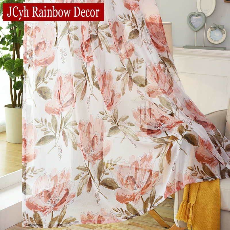 Huayin Velvet Linen Curtains Tulle Window Curtain For: Foral Tulle Curtains For Bedroom Window Sheer Curtain For