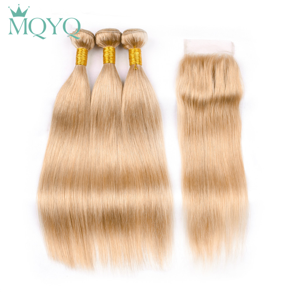 MQYQ Pre-Colored Indian Straight Human Hair With Lace Closure #27 Non-Remy Hair 3 Bundles With Closure Straight Hair Weaving