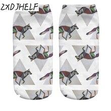 ZXDJHELF New Women Funny Geometric Fox 3D Print Socks Casual Breathable Low Cut Ankle Socks Cotton Hosiery Unisex Sock S0148