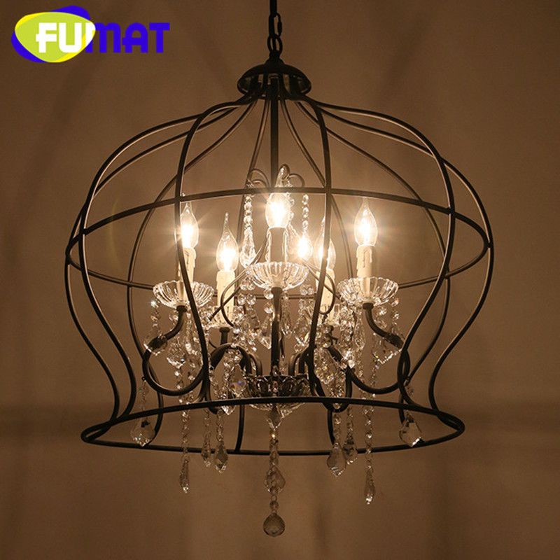 American Country Vintage Iron Crystal Chandelier Light Crown Shape Living Room Lamp Hanging Light Fixture with Candle Bulbs