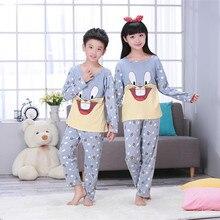 Купить с кэшбэком 16 DesignBig Kids Cotton Pajamas Children Sleepwear Baby Pajamas Sets Big Boys Girls  cartoon long-sleeved car pyjamas cotton