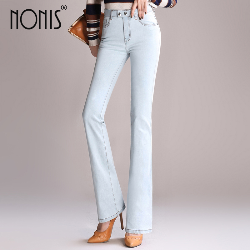 Nonis Women's High Waist Boot Cut Jeans Fashion Denim Pants Female 2017 Slim Butt lifting Horn Trousers light Flared Jeans-in Jeans from Women's Clothing