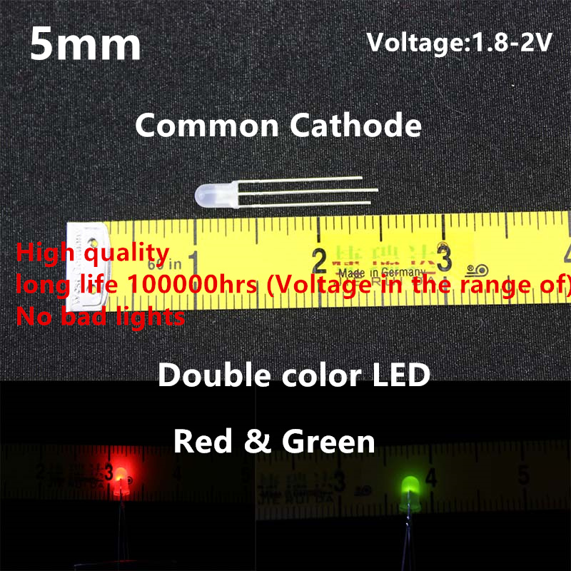 High quality 20pcs LED 5mm Round Diffused Red & Green double Color Common Cathode LED Diode Light Emitting Diode 100 pcs ld 3361ag 3 digit 0 36 green 7 segment led display common cathode