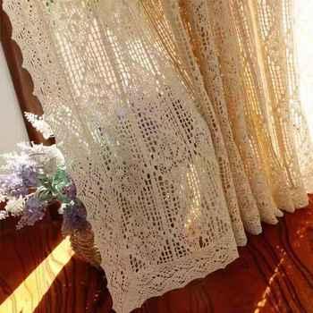 Cortina para ventana francesa de ganchillo de hilo de algodón hecha a mano de estilo rural americano