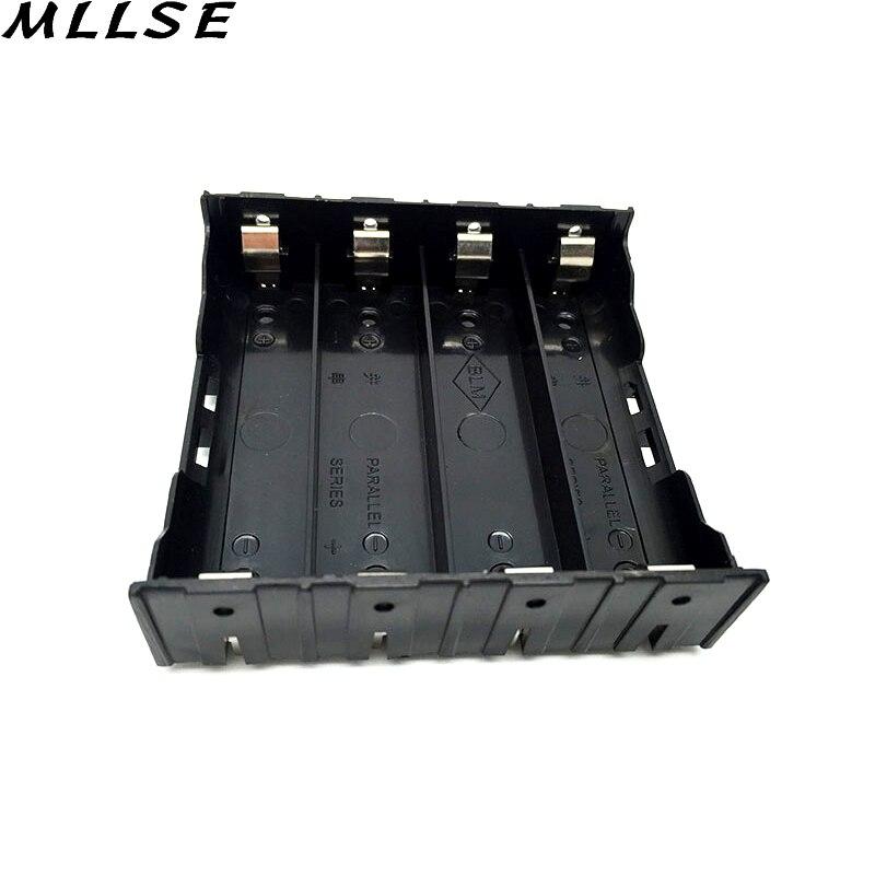Mllse 4×18650 Li-Ion Батарея хранения Пластик Клип держатель Дело коробка 8 Булавки контакт черный (3.7 В- 14.8 В) ящики для хранения батарей