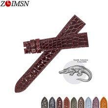 ZLIMSN taille de sangle de peau de Crocodile à rayures rondes de luxe véritable Crocodile peut être personnalisé 18mm 19mm 20mm 21mm 22mm