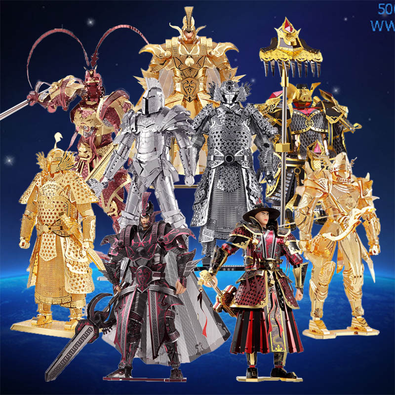 Piececool 3D Metal Puzzle Toy DIY Black Knight General Soldier Monkey King Peking Opera Figure Model For Adult Boy Toy Gift Gold