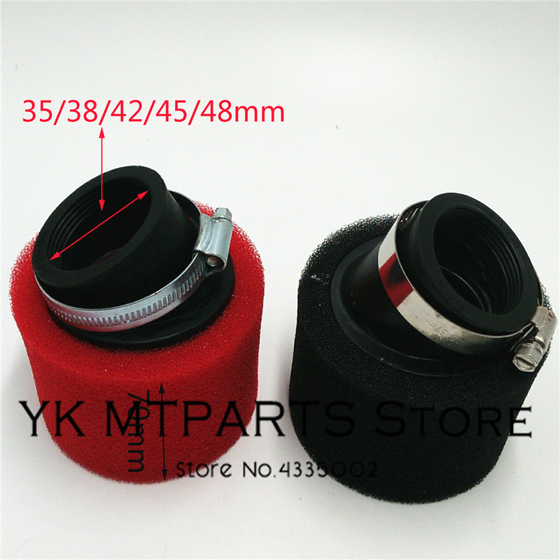 38mm-48mm ATV PIT DIRT BIKE 45 Degree ANGLED FOAM Air Filter Pod Cleaner 110cc 125cc RED CRF50 XR50 CRF