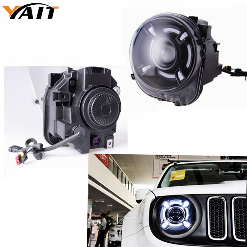 LED HID Headlight Projector with DRL & Bi-Xenon Lens For Jeep Renegade 2015 2016 2017 xenon Led Light Headlight 4x6 inch rectangle auto light led headlight replacement hid xenon h4651 h4652 h4656 h4666 h6545 h4 front led headlight with drl