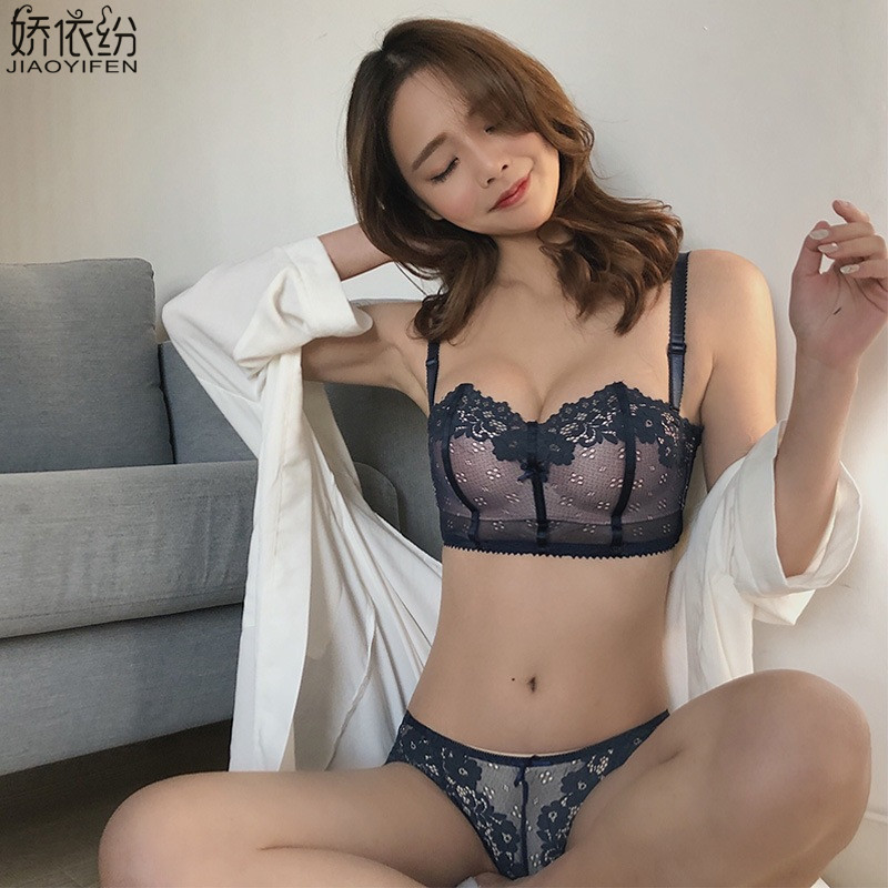 JYF Summer Sexy Lace Thin Section Wire Free Push Up Bra Set For Small Chest Bra Women Underwear Comfortable Lace Flower Bra Sets