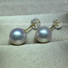 Women Gift word 925 Sterling silver real Japan imported Akoya seawater pearl earrings 18K gold pearl earrings earrings round lig недорого