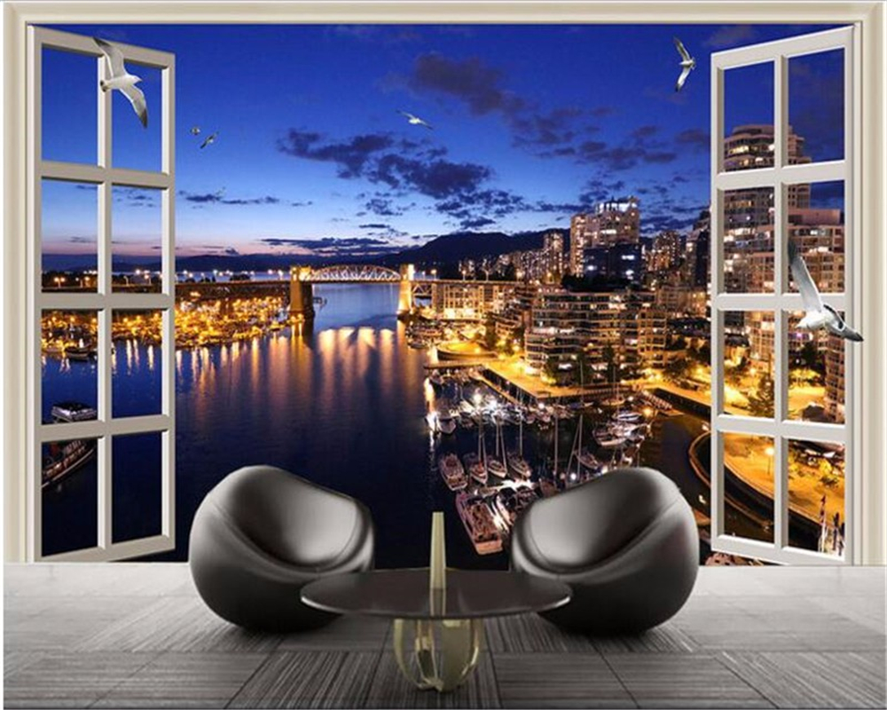 Beibehang Large Custom Wallpaper High Definition Beautiful City Television Household Adornment Picture Outside The Window