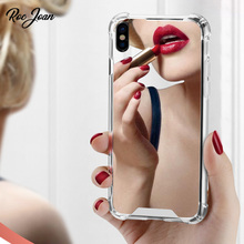 Roc Joan Mirror Case for iPhone X Anti Shock Hard Back Clear Soft TPU Frame Cover for iPhone XR XS Max Silver Gold Black Coque roc max resurfacing