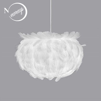 Modern personality white feather chandelier E27 220V LED lustre pendant lamp fixture bedroom living room restaurant kitchen cafe