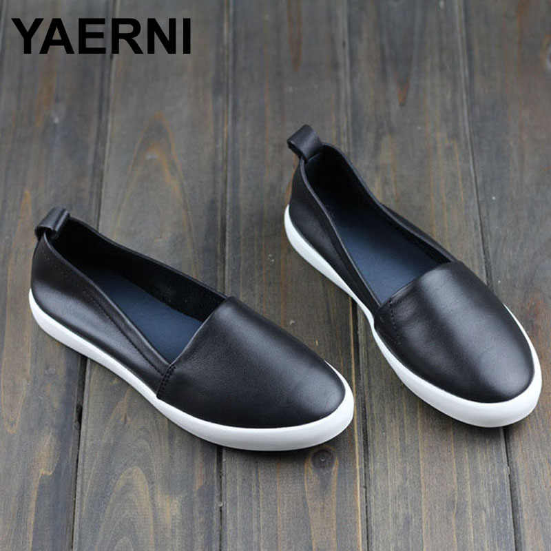 YAERNI Shoes Woman Flats Genuine Leather Round toe Slip on Loafers Ladies Flat Shoes Skid proof Spring/Autumn Female Footwear size 34 43 blue ladies autumn shoes round toe heel woman flat shoes t strap genuine leather women ballet flats