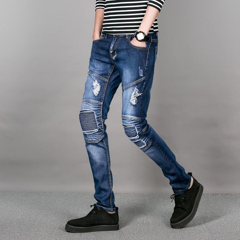 e34cfc893ccfe Azul clásico Mens Jeans Ajustados Con Parche de Rodilla de Los Hombres  Pantalones Vaqueros Rasgados pantalones de Estiramiento Activo hombres  Delgados Fit ...