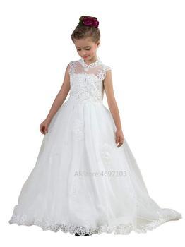 High Neck Beaded Girls Princess Dresses Flower Girl Dress White Girl Dresses for   Vestido Azul Marino