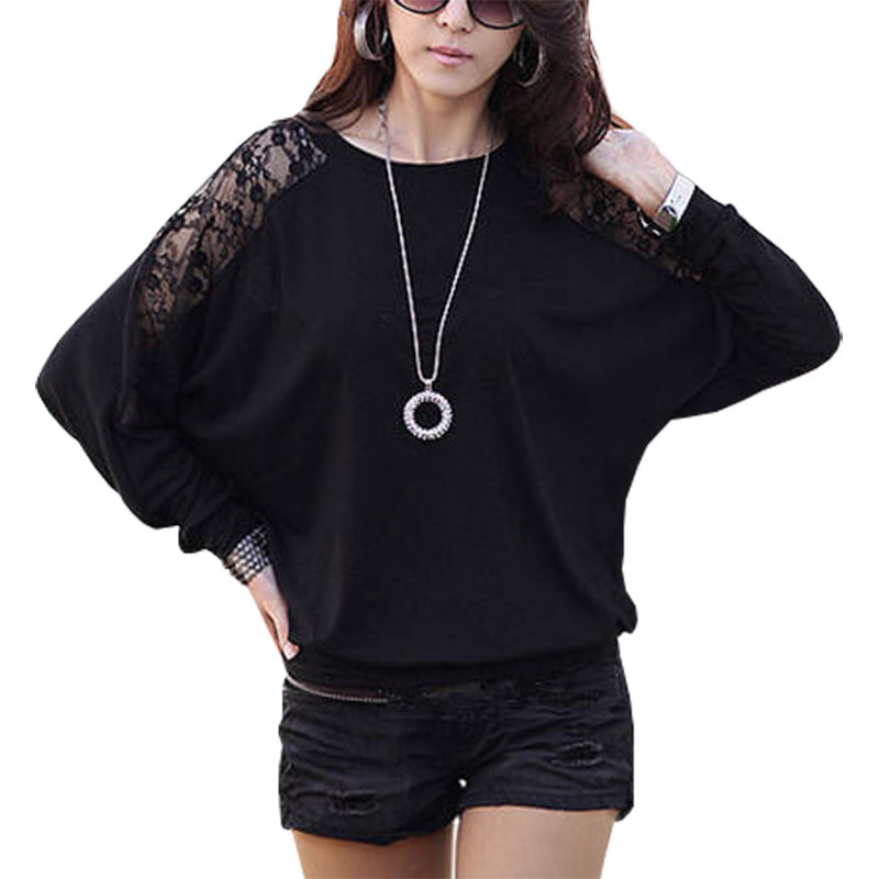 T Shirt Women Tshirt 2019 Korean New Lace Stitching Hollow Out Loose Solid Color Bat Sleeve T-shirt Vestidos Ropa Mujer LBD6806