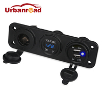 Boat 12v Dual USB Charger Car Cigarette Lighter Voltmeter Socket Adaptor Auto Motorcycle USB Voltmeter Car